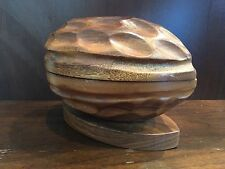 Vintage Carved Wood Walnut Nut Dish Retro Decor