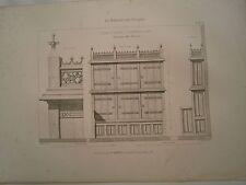 Planche gravure mobilier d'église Eglise St Germain l' Auxerrois Armoire trésor
