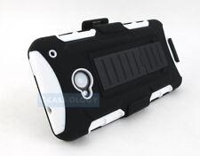 BLACK WHITE GT ARMOR CASE COVER BELT CLIP HOLSTER FOR HTC ONE M7 2013