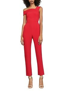 NEW BCBG MAXAZRIA RED BERRY HAIDA ONE-SHOULDER JUMPSUIT BYM9E076/L544W SIZE 10