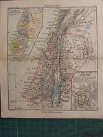 1897 Antik Landkarte ~ Palaestina Palästina Canaan Jerusalem Samaria Galilee