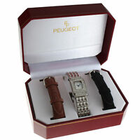 Peugeot Womens 691S Crystal-Accented Silver Watch with Two Interchangeable Strap