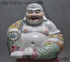Chinese Multicolored porcelain Painted Buddhism Laughter maitreya Buddha Statue