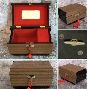 Mid Century Modern Wood Locking Jewellery Music Box Retro Vintage 1950 60 70s
