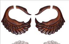 Tibetan Handmade African Wooden Swan Design Wood Fake Gauge Earring WER158