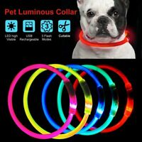 USB Rechargeable LED Dog Pet Light Up Safety Collar Night Glow Adjustable Bright