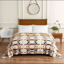 "Pendleton White Sands Sherpa Fleece King Size Blanket 112"" X 92"" Southwestern"
