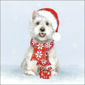4 x Single Paper Napkins/3 ply/33cmDecoupage/Christmas/Dog/Westie in Hat/Scarf