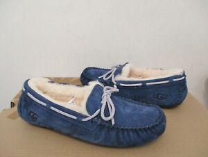 UGG Women's DAKOTA Peacoat Blue Moccasin Shoe Suede 12US NIB $100 MSRP