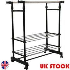 UK Double Clothes Rail Garment Coat Hanging Display Stand Shoes Rack With Wheels