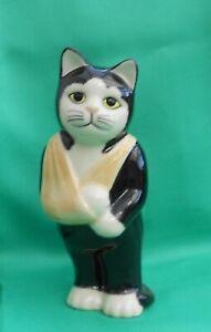 Quail Ceramics Poorly Black & White Cat wearing a Sling called Simon