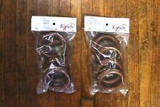 """New - Kirsch 2"""" Wood Pole Rings Estate Oak #5502Eg820 Fluted Edge - 2 Packs of 4"""