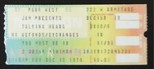 Talking Heads December 15, 1978 Ticket Stub Chicago Park West David Byrne