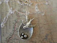 Sparrow Bird Nest MAMA Bird Necklace Silver