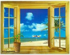 Grande finestra 3D Vista spiaggia mare giardino Adesivo Parete Arte Murale Decalcomania Carta da parati