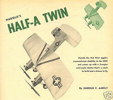 """Model Airplane Plans (Uc): dmeco's Half-A Twin 26""""ws for twin .049's"""