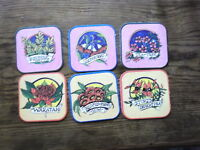 SET OF 6   COLOURFUL RETRO  WILDFLOWER BEER COASTERS