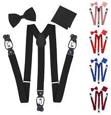 Men's Formal Adult Tuxedo Bow Tie Hanky Convertible Suspenders Gift Box Set