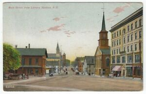 Nashua, New Hampshire, Vintage Postcard View of Main Street, From Library, 1909