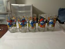 Set of 5 Vintage 1983 Smurf Character Drinking Glasses