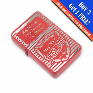 Personalised Engraved Red Fathers Day Lighter with Best Dad shield design