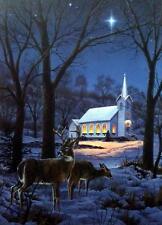 Darrell Bush A Midnight Clear Deer Church Print-Signed 16 x 22