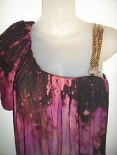 Sky Clothing Brand M Top Tie Die Purple Rhinestone Crystal Gold Chains Tunic