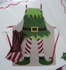 NEW! Christmas ELF 100% PVC APRON & Matching Latex GLOVES Set