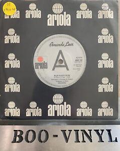 "AMANDA LEAR RARE PROMO 7"" VINYL RECORD RUN BABY RUN EX/EX CON"