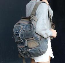 Womens Denim Pockets Travel Backpack Retro Frayed Rucksack Satchel Shoulders Bag