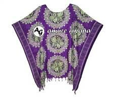 Purple Floral Loose Batwing Kaftan Top Oversized Blouse Resort Beach Tunic Boho