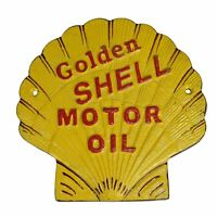 Shell Shaped Shell Oil Sign Fuel Cast Iron Sign Plaque Wall Garage Petrol