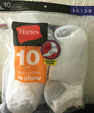 HANES RED LABEL NO SHOW BOYS SOCKS SIZE LARGE 3-9 - 10 PAIR--BACK TO SCHOOL!!