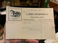 JOHN DESMOND Practical Horse Shoer Billhead PHILADELPHIA PA 1887 Veterinary Vet