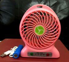 Desk Fan Portable USB Rechargeable Air Cooler Mini Desk Fan Pink F&F