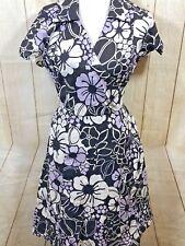 WOMEN'S 100% Cotton Casual Size 14 House Dress Lavender B&W Faux Wrap (42B)