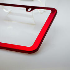 Slim License Plate Cover Frame Holder 2 Hole Stainless Steel Chrome Candy Red