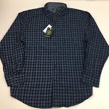 GH BASS Men's Shirt Plaid Long Sleeve Button-Front XL Blue