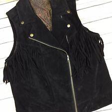 OVS Women's Large Black 100% Suede Leather Tassels Asymmetrical Zip Moto Vest