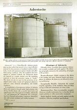 Asbestocite ASBESTOS Cement Tank Insulation JOHNS-MANVILLE 1951