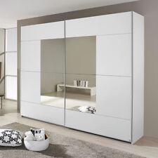 Schwebetürenschrank Crato Kleiderschrank Schrank in weiß mit Spiegel 218 cm
