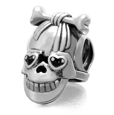 Authentic.925 Solid Sterling European Charm Fits PAN BRACELET GIRL SKULL