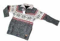 Herrlicher gestrickter Wollpullover 4 Größen 100% Schafswolle Handarbeit Nepal