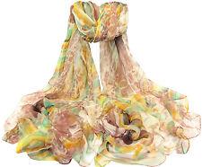 "Women's 100% Chiffon Silk Scarf / Multi-color / Abstract / 76"" X 44"""