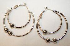 Handsome Double Rings Shiny Ball Beaded Silvertone PIERCED Earrings +++