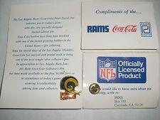 1985 NFL Coca-Cola Coke Peter David Los Angeles St Louis Rams 2 Bar Helmet Pin