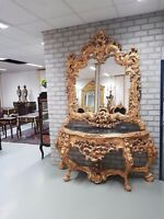 CONSOLE - GOLD ROYAL CONSOLE WITH MIRROR IN WOODEN FRAME