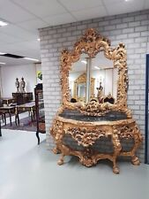 CONSOLE - GOLD ROYAL CONSOLE WITH MIRROR IN WOODEN FRAME #MB1500