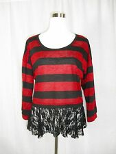 New! Bongo Red Black Striped Semi-Sheer Lace Metallic 3/4 Sleeve Shirt XL NWOT