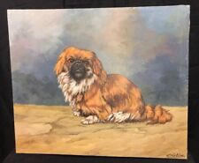 "Pekingese Vintage MID-CENTURY DOG Portrait Oil Painting By ""Christine"" Old Lhasa"